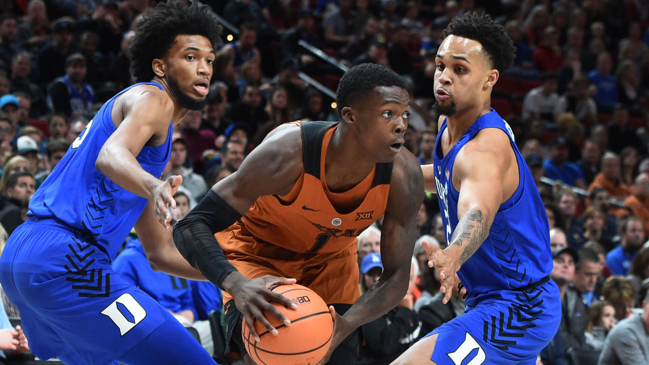 PORTLAND, OR - NOVEMBER 24: Marvin Bagley III #35 and Gary Trent Jr #2 of the Duke Blue Devils trap Andrew Jones #1 of the Texas Longhorns during the first half of the game during the PK80-Phil Knight Invitational presented by State Farm at the Moda Center on November 24, 2017 in Portland, Oregon. Duke won the game 85-78.