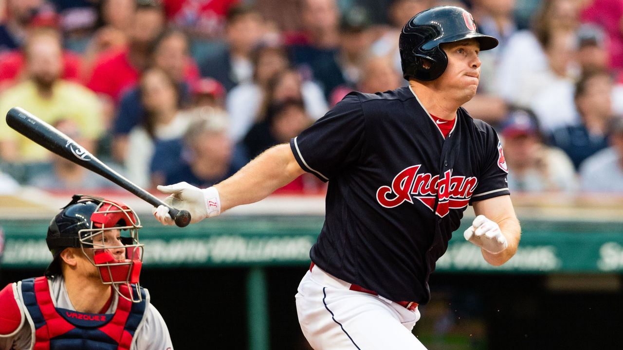 CLEVELAND, OH - AUGUST 23: Jay Bruce #32 of the Cleveland Indians hits a single during the second inning against the Boston Red Sox at Progressive Field on August 23, 2017 in Cleveland, Ohio.