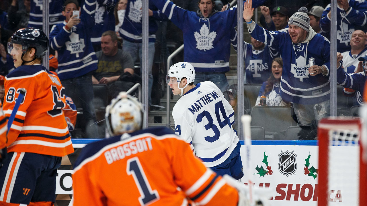 EDMONTON, AB - NOVEMBER 30: Auston Matthews #34 of the Toronto Maple Leafs celebrates a goal against the Edmonton Oilers at Rogers Place on November 30, 2017 in Edmonton, Canada.