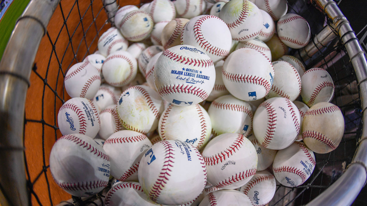 MIAMI, FL - APRIL 11: Baseballs for batting practice during 2017 Opening Day against the Atlanta Braves at Marlins Park on April 11, 2017 in Miami, Florida.