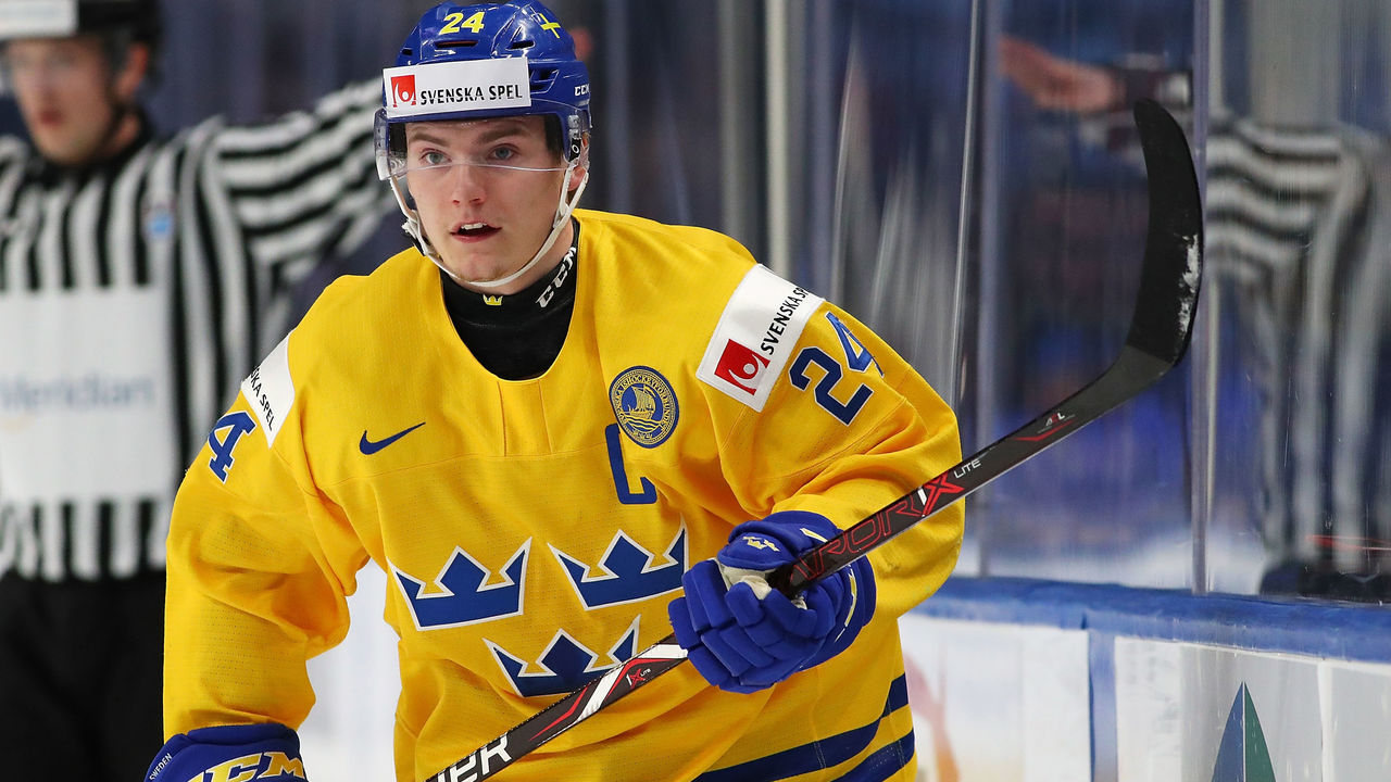 BUFFALO, NY - JANUARY 4: Lias Andersson #24 of Sweden during the IIHF World Junior Championship against the United States at KeyBank Center on January 4, 2018 in Buffalo, New York.