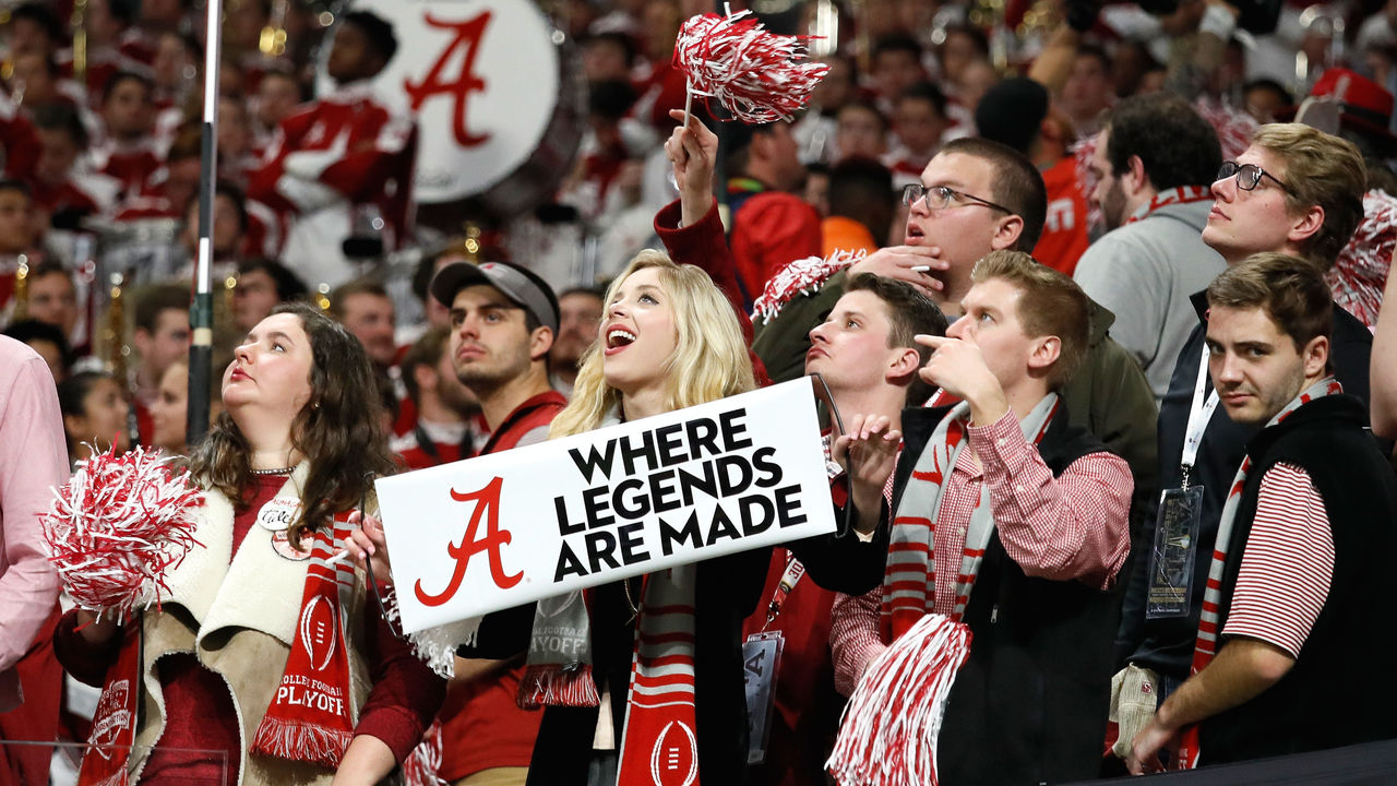 ATLANTA, GA - JANUARY 08: Alabama Crimson Tide fans cheer during the second quarter against the Georgia Bulldogs in the CFP National Championship presented by AT&T at Mercedes-Benz Stadium on January 8, 2018 in Atlanta, Georgia.