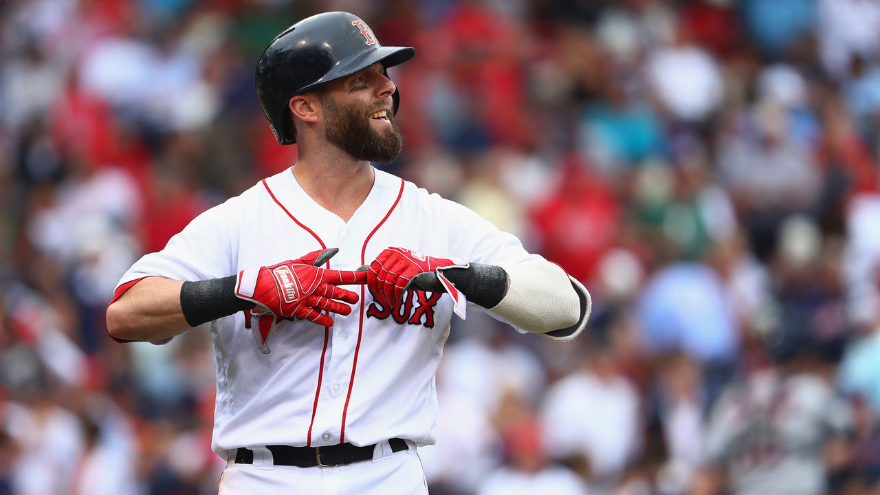 BOSTON, MA - OCTOBER 08: Dustin Pedroia #15 of the Boston Red Sox reacts in the second inning against the Houston Astros during game three of the American League Division Series at Fenway Park on October 8, 2017 in Boston, Massachusetts.
