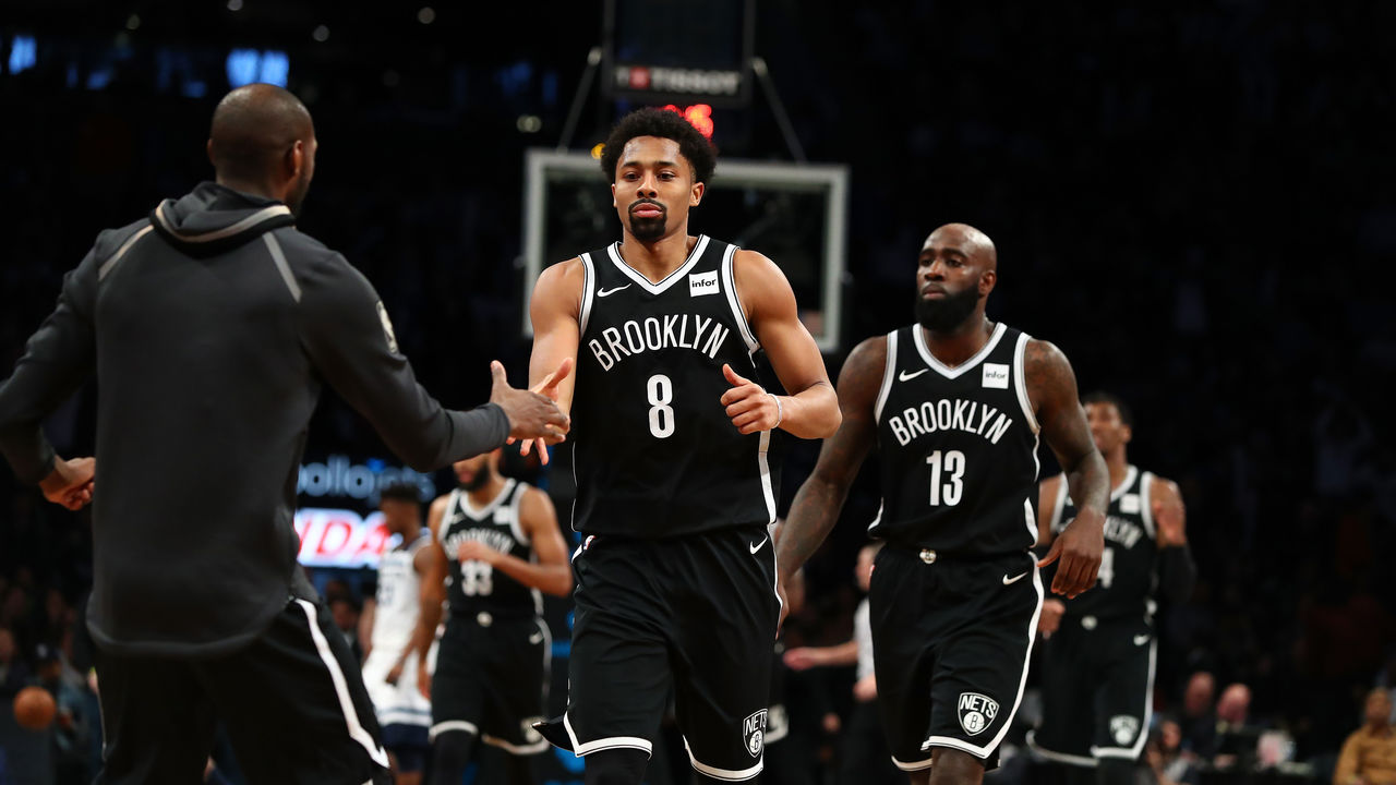 NEW YORK, NY - JANUARY 03: Spencer Dinwiddie #8 of the Brooklyn Nets celebrates scoring the winning basket against the Minnesota Timberwolves in the final seconds during their game at Barclays Center on January 3, 2018 in New York City. User expressly acknowledges and agrees that, by downloading and/or using this Photograph, user is consenting to the terms and conditions of the Getty Images License Agreement.