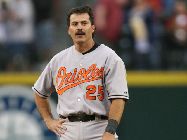 SEATTLE - JULY 15: Rafael Palmeiro #25 of the Baltimore Orioles stands at second base after doubling against the Seattle Mariners for hit number 3000 of his career on July 15, 2005 at Safeco Field in Seattle, Washington.