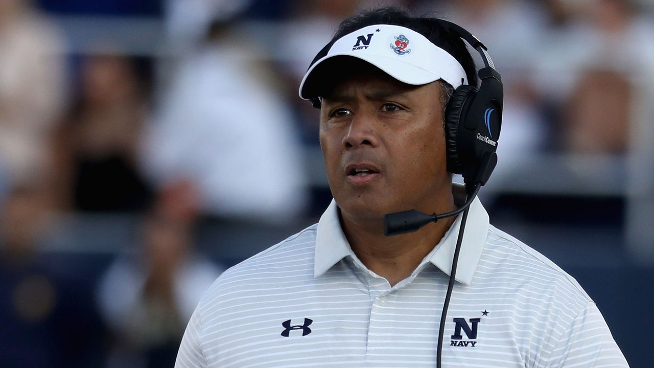 ANNAPOLIS, MD - SEPTEMBER 09: Head coach Ken Niumatalolo of the Navy Midshipmen looks on against the Tulane Green Wave at Navy-Marine Corp Memorial Stadium on September 9, 2017 in Annapolis, Maryland.