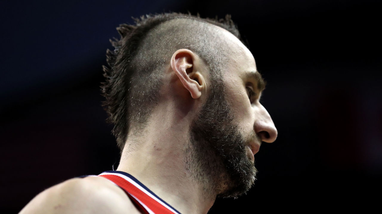 WASHINGTON, DC - DECEMBER 19: Marcin Gortat #13 of the Washington Wizards looks on against the New Orleans Pelicans at Capital One Arena on December 19, 2017 in Washington, DC.