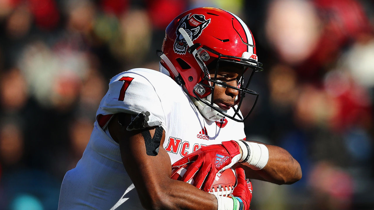 CHESTNUT HILL, MA - NOVEMBER 11: Nyheim Hines #7 of the North Carolina State Wolfpack runs with the ball during the first half against the Boston College Eagles at Alumni Stadium on November 11, 2017 in Chestnut Hill, Massachusetts.