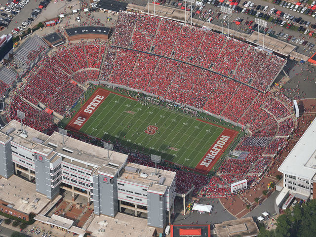 RALEIGH, NC - SEPTEMBER 27: An aerial view of Carter-Finley Stadium during a game between the Florida State Seminoles and the North Carolina State Wolfpack on September 27, 2014 in Raleigh, North Carolina. Florida State defeated NC State 56-41.