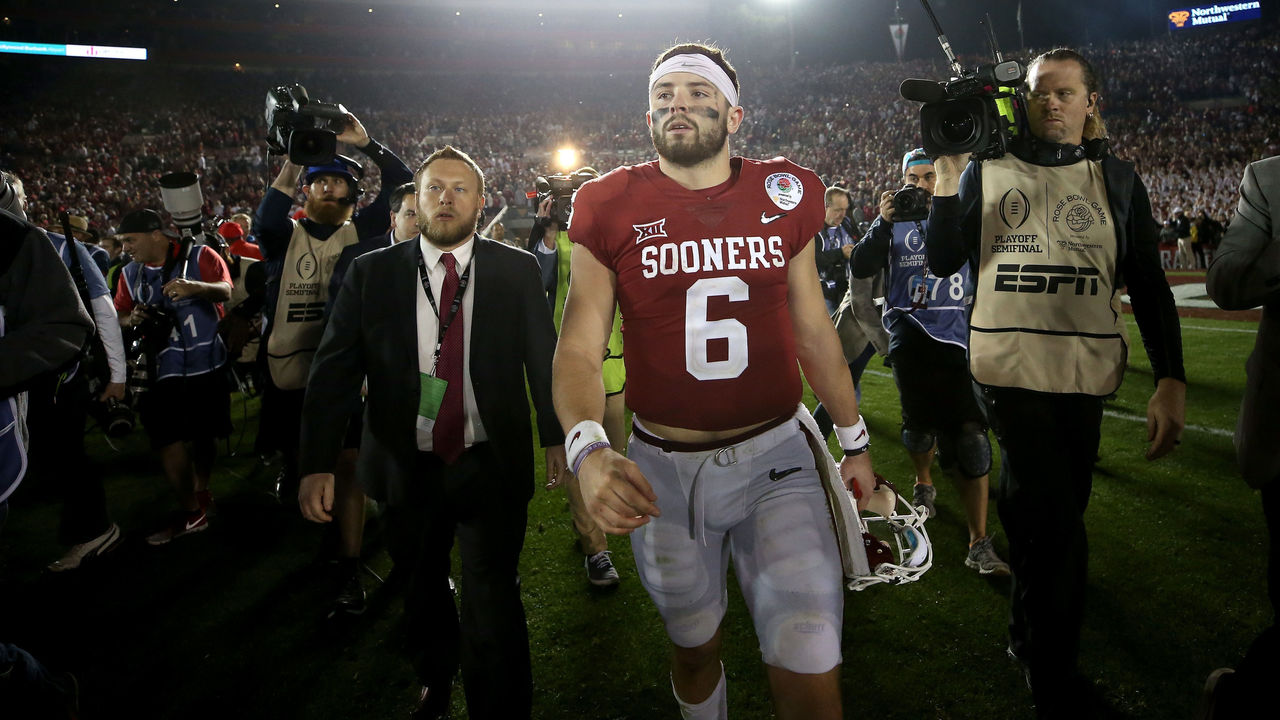 PASADENA, CA - JANUARY 01: Quarterback Baker Mayfield #6 of the Oklahoma Sooners walks off the field after losing to the Georgia Bulldogs 54-48 in the 2018 College Football Playoff Semifinal at the Rose Bowl Game presented by Northwestern Mutual at the Rose Bowl on January 1, 2018 in Pasadena, California.
