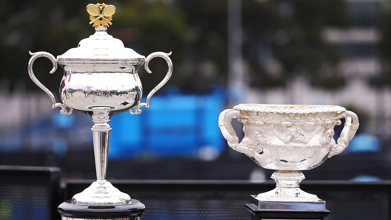 MELBOURNE, AUSTRALIA - JANUARY 07: The Daphne Akhurst Memorial Cup for Women and the Norman Brookes Memorial Cup for Men are seen ahead of the 2018 Australian Open at Melbourne Park on January 7, 2018 in Melbourne, Australia.