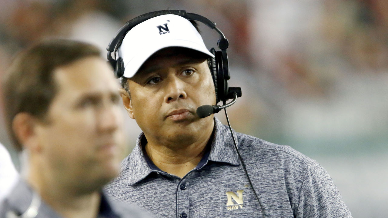 TAMPA, FL - OCTOBER 28: Navy Midshipmen head coach Ken Niumatalolo walks along the sidelines during the second quarter of their game with South Florida at Raymond James Stadium on October 28, 2016 in Tampa, Florida.