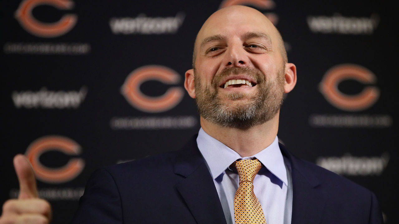 LAKE FOREST, IL - JANUARY 09: New Chicago Bears head coach Matt Nagy speaks to the media during an introductory press conference at Halas Hall on January 9, 2018 in Lake Forest, Illinois.