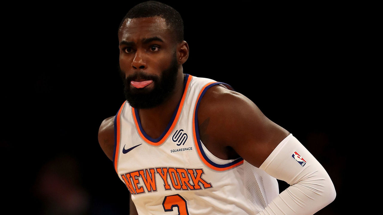 NEW YORK, NY - NOVEMBER 20: Tim Hardaway Jr. #3 of the New York Knicks celebrates his basket in the first half against the Los Angeles Clippers at Madison Square Garden on November 20, 2017 in New York City.