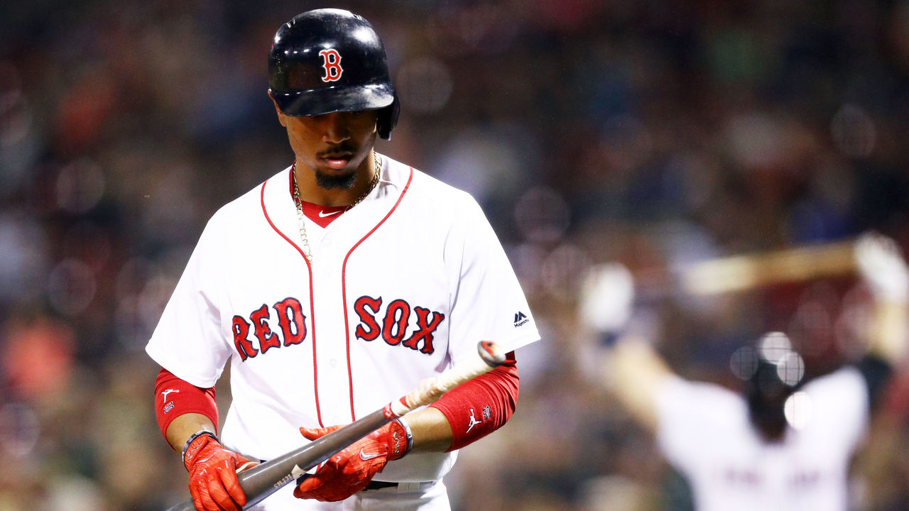 BOSTON, MA - SEPTEMBER 6: Mookie Betts #50 of the Boston Red Sox walks to the batters box during the first inning against the Toronto Blue Jays at Fenway Park on September 6, 2017 in Boston, Massachusetts.