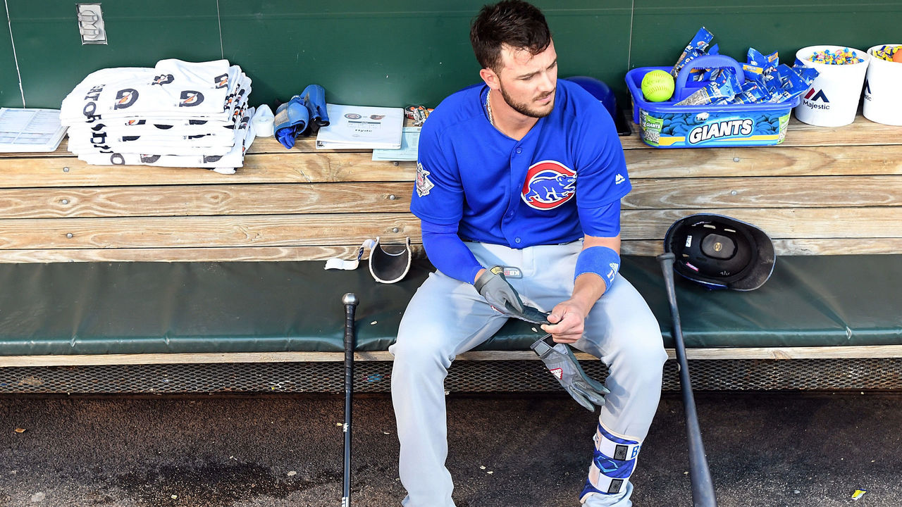 BALTIMORE, MD - JULY 15: Kris Bryant #17 of the Chicago Cubs sits in the dugout before the game against the Baltimore Orioles at Oriole Park at Camden Yards on July 15, 2017 in Baltimore, Maryland.