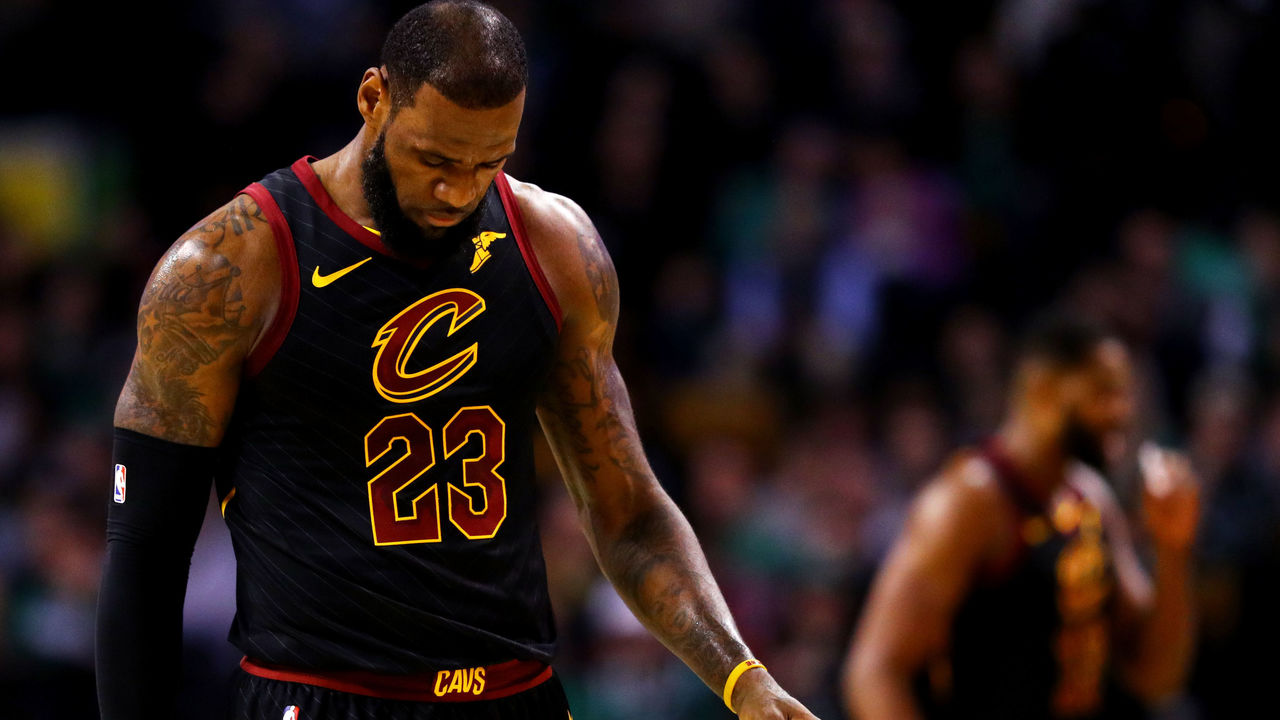BOSTON, MA - JANUARY 3: LeBron James #23 of the Cleveland Cavaliers looks on during he first quarter against the Boston Celtics at TD Garden on January 3, 2018 in Boston, Massachusetts.