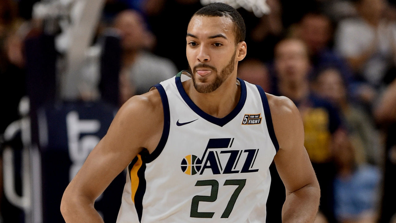 SALT LAKE CITY, UT - OCTOBER 18: Rudy Gobert #27 of the Utah Jazz runs up court during their game against the Denver Nuggets at Vivint Smart Home Arena on October 18, 2017 in Salt Lake City, Utah.