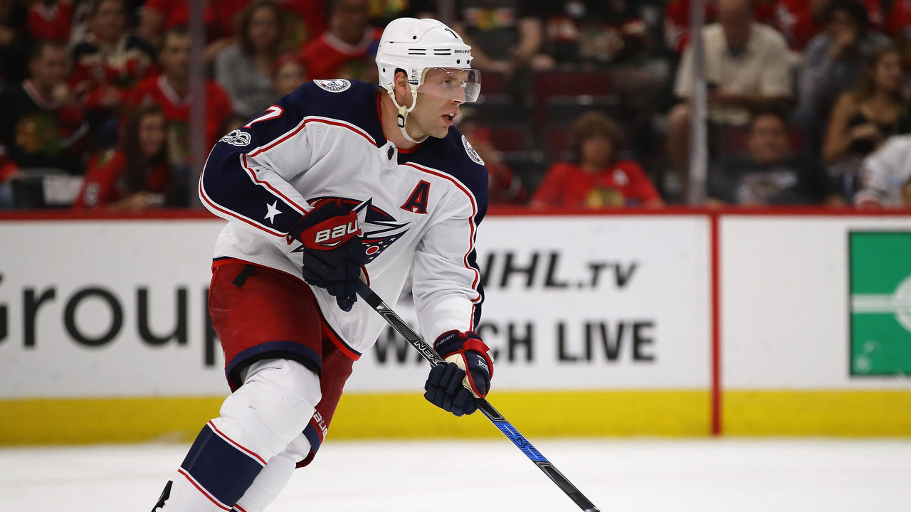 CHICAGO, IL - SEPTEMBER 23: Jack Johnson #7 of the Columbus Blue Jackets advances the puck against the Chicago Blackhawks during a preseason game at the United Center on September 23, 2017 in Chicago, Illinois. The Blue Jackets defeated the Blackhawks 3-2.