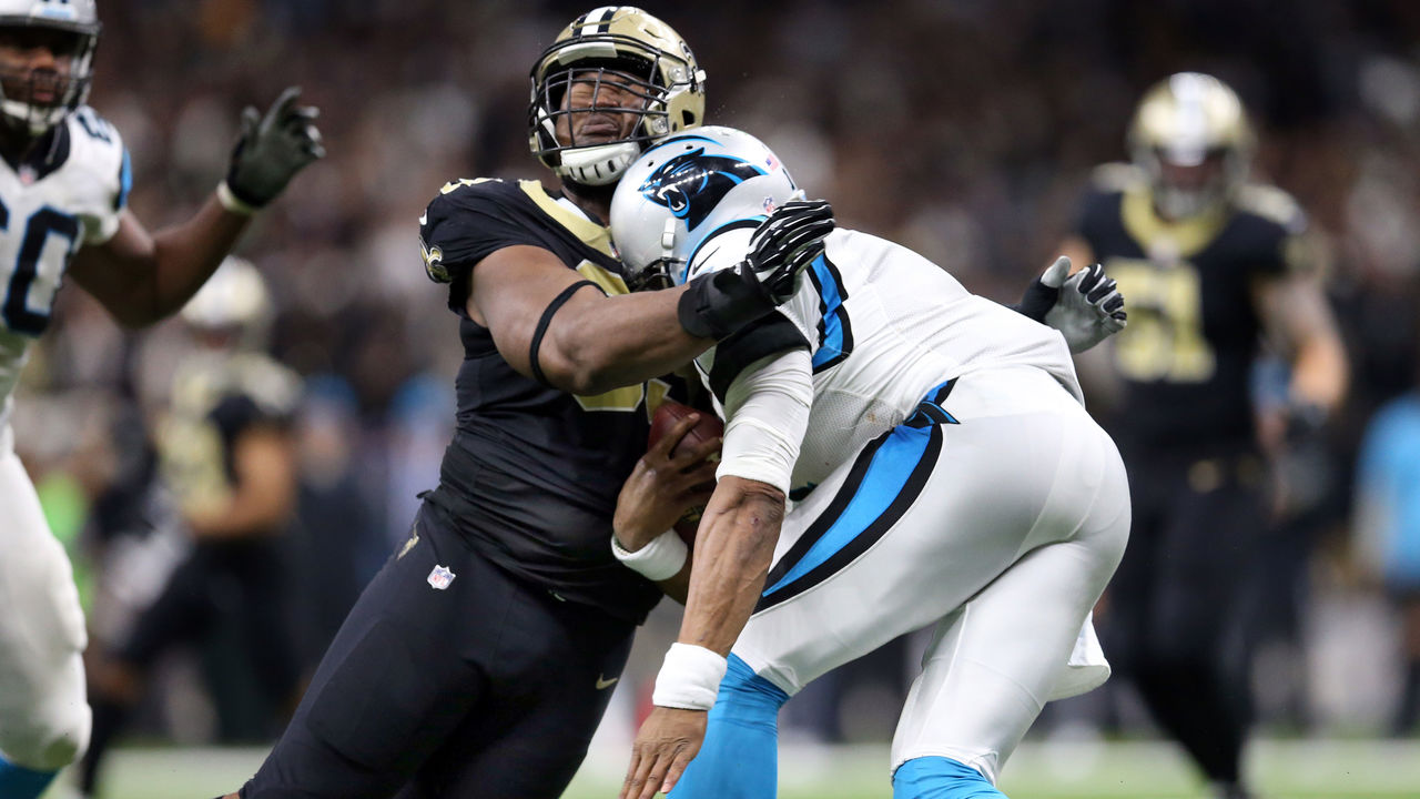 NEW ORLEANS, LA - JANUARY 07: Cam Newton #1 of the Carolina Panthers was forced to leave the game after his collision with David Onyemata #93 of the New Orleans Saints during the second half of the NFC Wild Card playoff game at the Mercedes-Benz Superdome on January 7, 2018 in New Orleans, Louisiana.