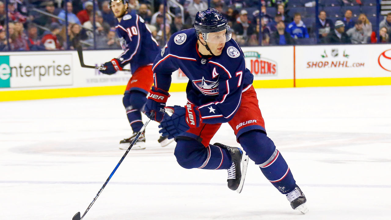 COLUMBUS, OH - DECEMBER 12: Jack Johnson #7 of the Columbus Blue Jackets skates after the puck during the game against the Edmonton Oilers on December 12, 2017 at Nationwide Arena in Columbus, Ohio. Edmonton defeated Columbus 7-2.