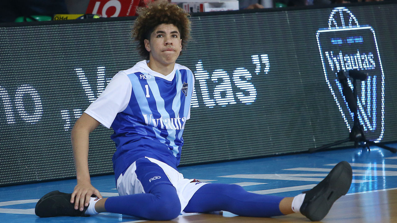 PRIENAI, LITHUANIA - JANUARY 09: LaMelo Ball of Vytautas Prienai prior to the match between Vytautas Prienai and Zalgiris Kauno on January 9, 2018 in Prienai, Lithuania.