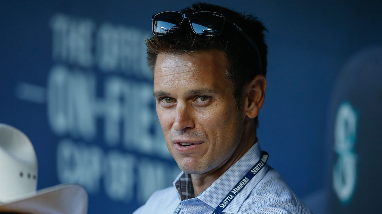 SEATTLE, WA - SEPTEMBER 30: GM Jerry Dipoto of the Seattle Mariners looks on from the dugout prior to the game against the Houston Astros at Safeco Field on September 30, 2015 in Seattle, Washington.