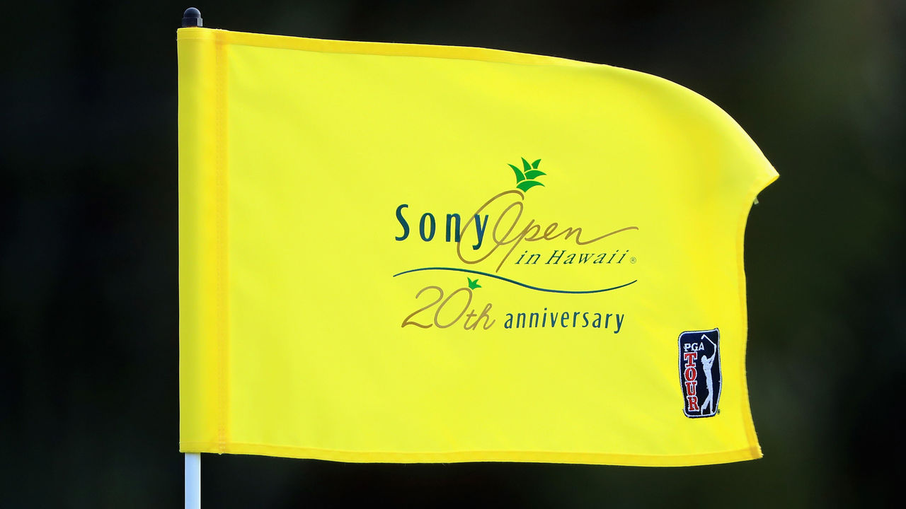 HONOLULU, HI - JANUARY 08: A detail of a Sony Open In Hawaii 20th Anniversary flag during practice rounds prior to the Sony Open In Hawaii at Waialae Country Club on January 8, 2018 in Honolulu, Hawaii.