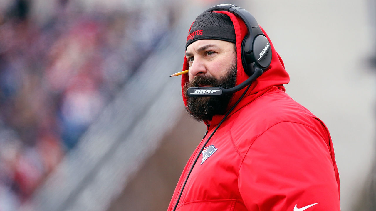 FOXBORO, MA - DECEMBER 31: New England Patriots defensive coordinator Matt Patricia looks on during the first half against the New York Jets at Gillette Stadium on December 31, 2017 in Foxboro, Massachusetts.