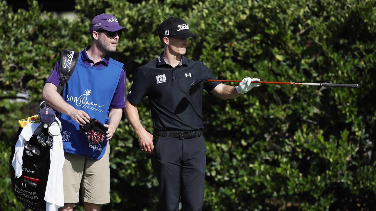 HONOLULU, HI - JANUARY 11: Blayne Barber of the United States lines up his shot from the sixth tee during round one of the Sony Open In Hawaii at Waialae Country Club on January 11, 2018 in Honolulu, Hawaii.