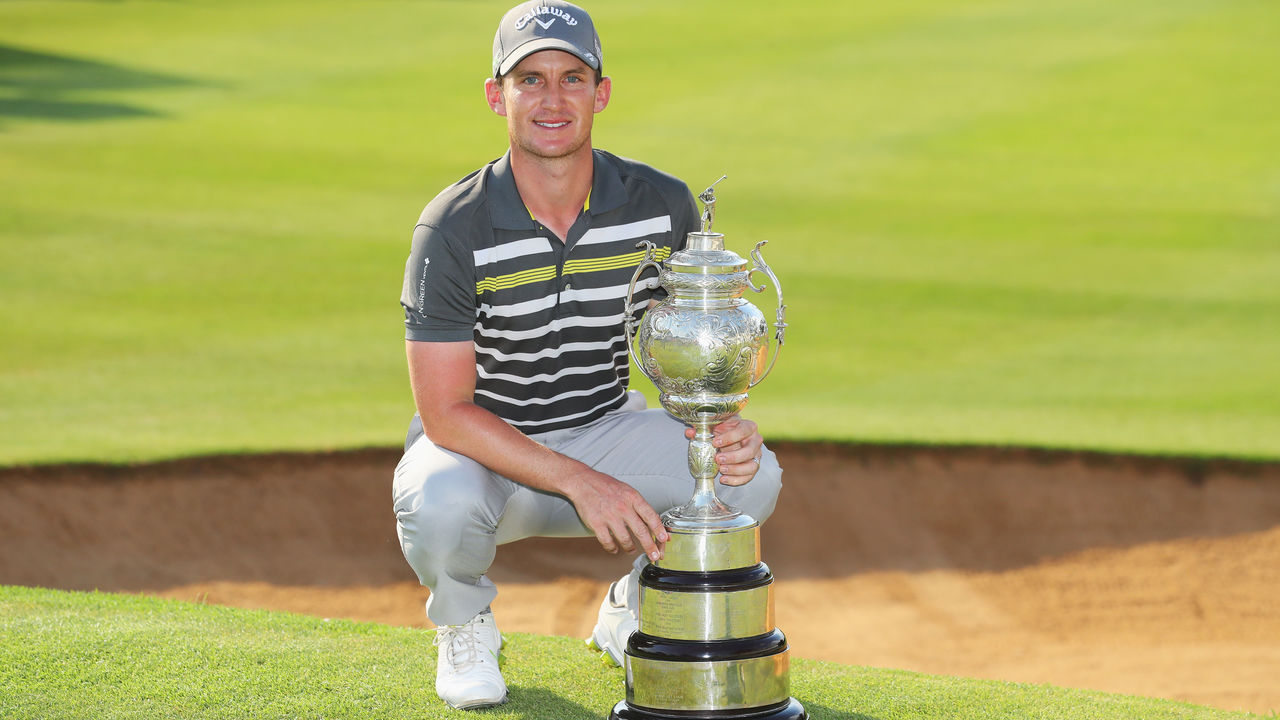 JOHANNESBURG, SOUTH AFRICA - JANUARY 14: Chris Paisley of England poses with the trophy after his victory during day four of the BMW South African Open Championship at Glendower Golf Club on January 14, 2018 in Johannesburg, South Africa.
