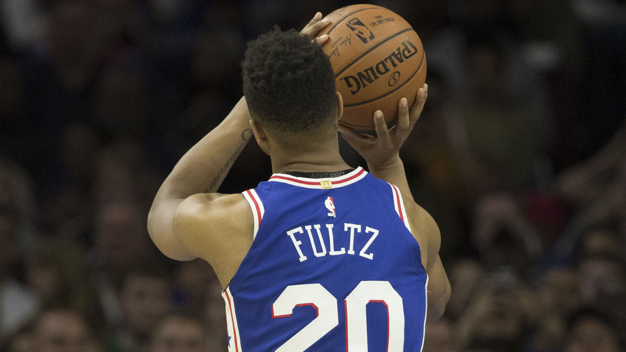 PHILADELPHIA, PA - OCTOBER 20: Markelle Fultz #20 of the Philadelphia 76ers shoots a foul shot against the Boston Celtics at the Wells Fargo Center on October 20, 2017 in Philadelphia, Pennsylvania.