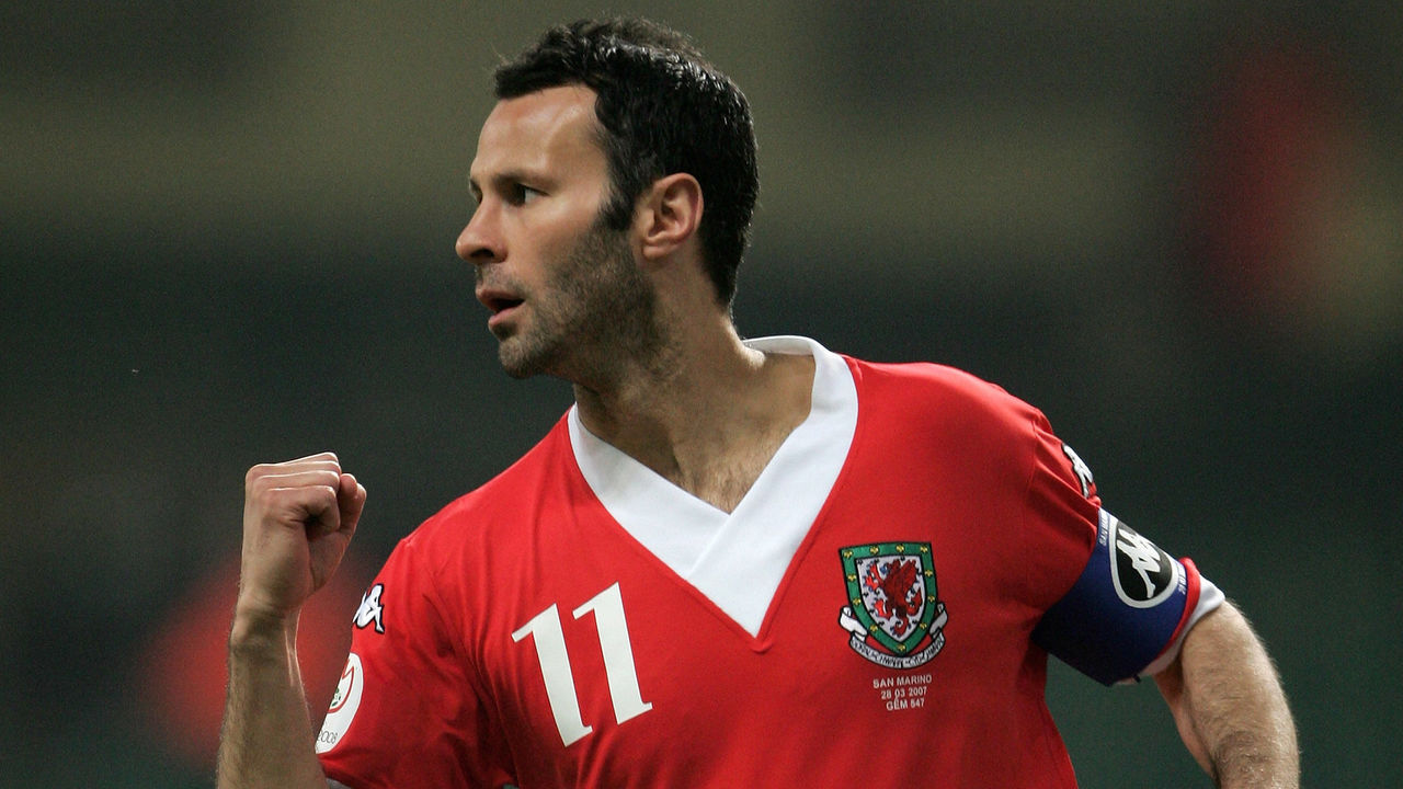 CARDIFF, UNITED KINGDOM - MARCH 28: Ryan Giggs of Wales opens the scoring during the UEFA Euro 2008 qualifying match between Wales and San Marino at the Millennium Stadium on March 28, 2007 in Cardiff, Wales.