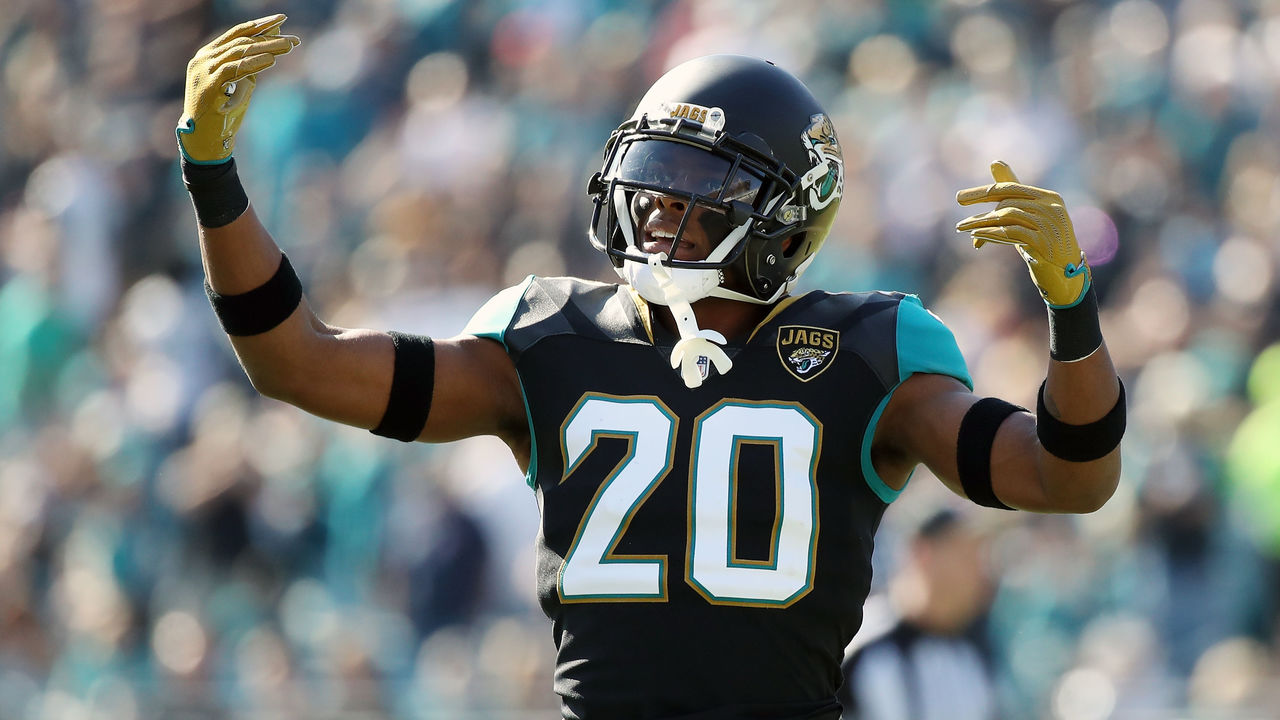 JACKSONVILLE, FL - DECEMBER 17: Jalen Ramsey #20 of the Jacksonville Jaguars celebrates a play during the second half of their game against the Houston Texans at EverBank Field on December 17, 2017 in Jacksonville, Florida.