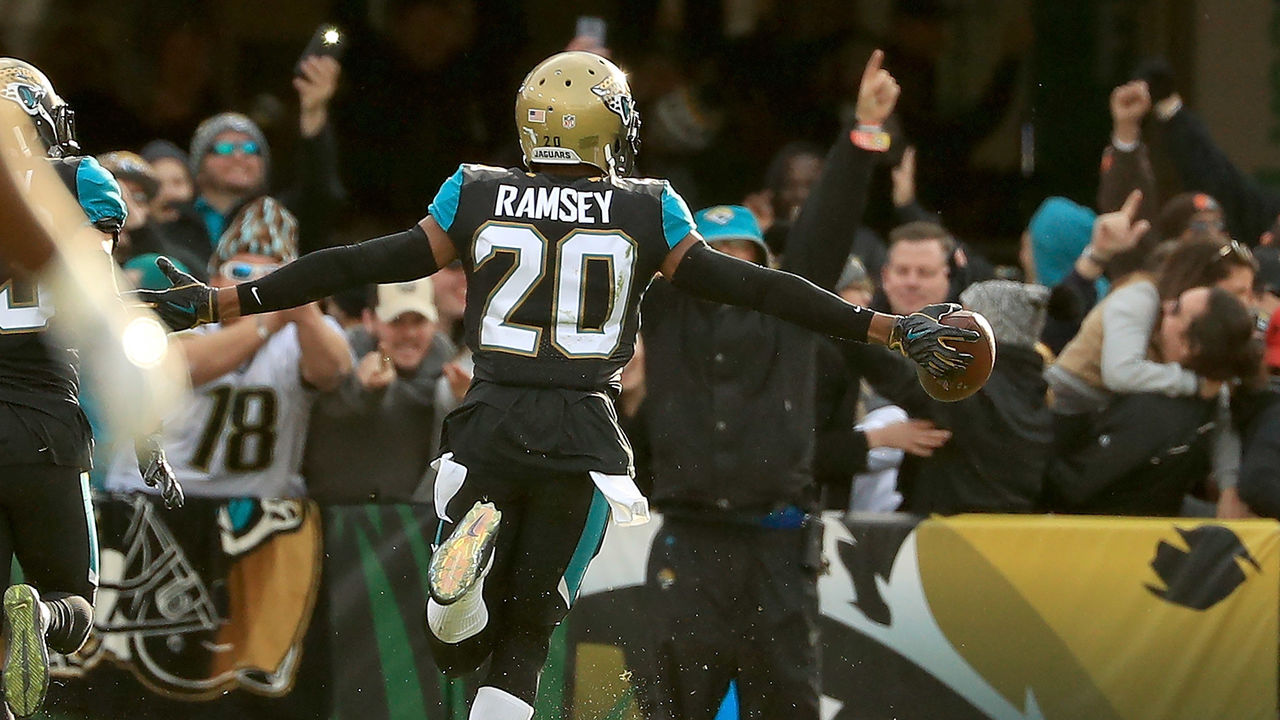 JACKSONVILLE, FL - JANUARY 07: Jalen Ramsey #20 of the Jacksonville Jaguars reacts to an interception during AFC Wild Card playoff game against the Buffalo Bills at EverBank Field on January 7, 2018 in Jacksonville, Florida.