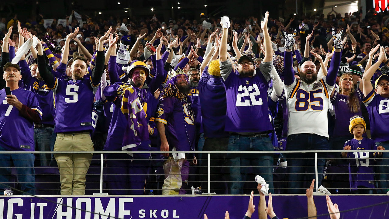 MINNEAPOLIS, MN - JANUARY 14: Minnesota Vikings fans cheer after a touchdown against the New Orleans Saints in the NFC Divisional Playoff game at U.S. Bank Stadium on January 14, 2018 in Minneapolis, Minnesota.