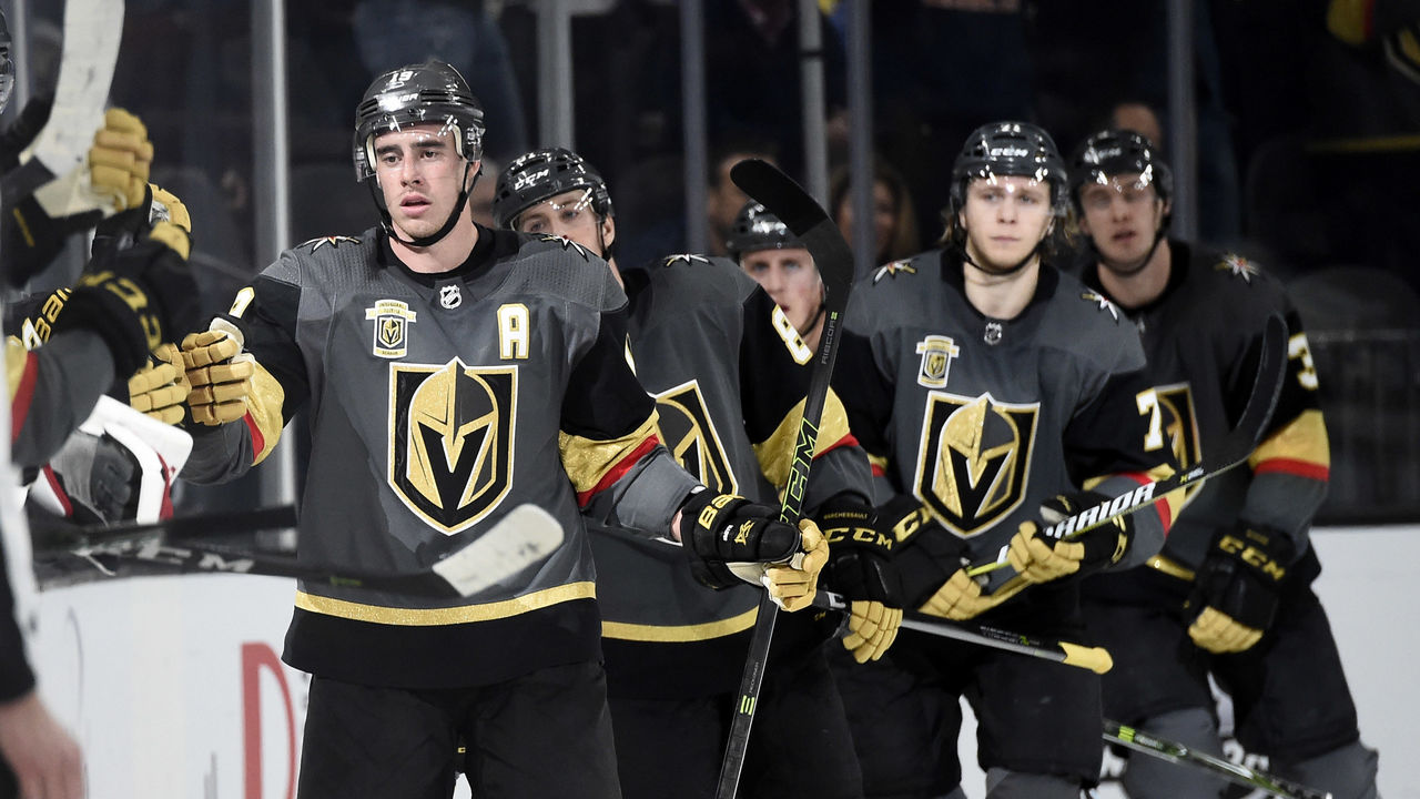 LAS VEGAS, NV - JANUARY 13: The Vegas Golden Knights celebrate after scoring a goal against the Edmonton Oilers during the game at T-Mobile Arena on January 13, 2018 in Las Vegas, Nevada. *** Local Caption ***