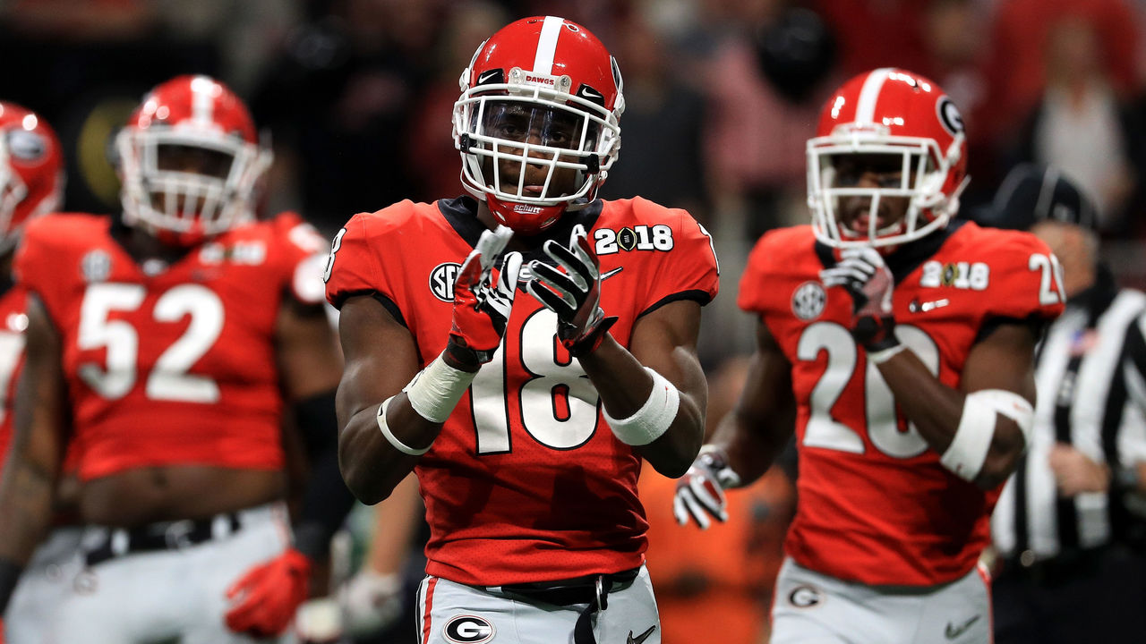 ATLANTA, GA - JANUARY 08: Deandre Baker #18 of the Georgia Bulldogs celebrates a play during the second quarter against the Alabama Crimson Tide in the CFP National Championship presented by AT&T at Mercedes-Benz Stadium on January 8, 2018 in Atlanta, Georgia.