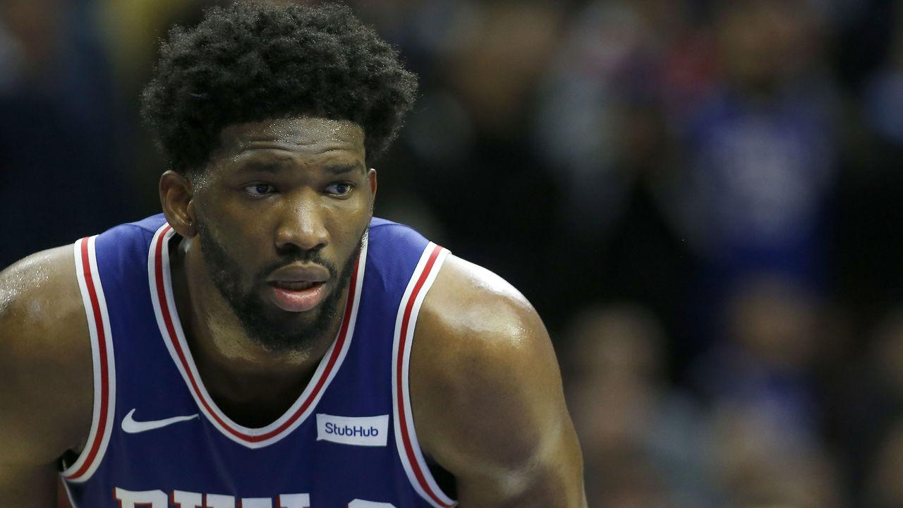 PHILADELPHIA, PA - JANUARY 3: Joel Embiid #21 of the Philadelphia 76ers looks on San Antonio Spurs at Wells Fargo Center on January 3, 2018 in Philadelphia, Pennsylvania.