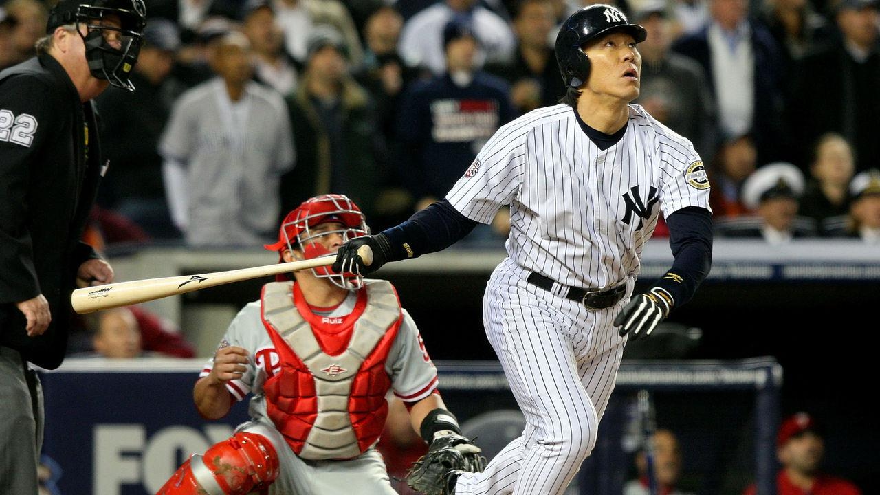 NEW YORK - NOVEMBER 04: Hideki Matsui #55 of the New York Yankees hits a 2-run home run in the bottom of the second inning against the Philadelphia Phillies in Game Six of the 2009 MLB World Series at Yankee Stadium on November 4, 2009 in the Bronx borough of New York City.