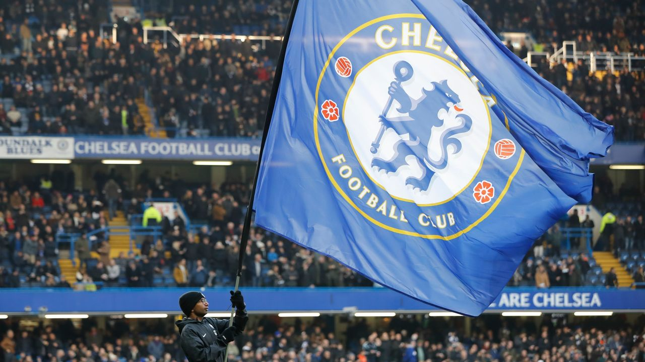 The Chelsea club flag is seen before kick off of the English Premier League football match between Chelsea and Leicester City at Stamford Bridge in London on January 13, 2018. / AFP PHOTO / Tolga AKMEN /