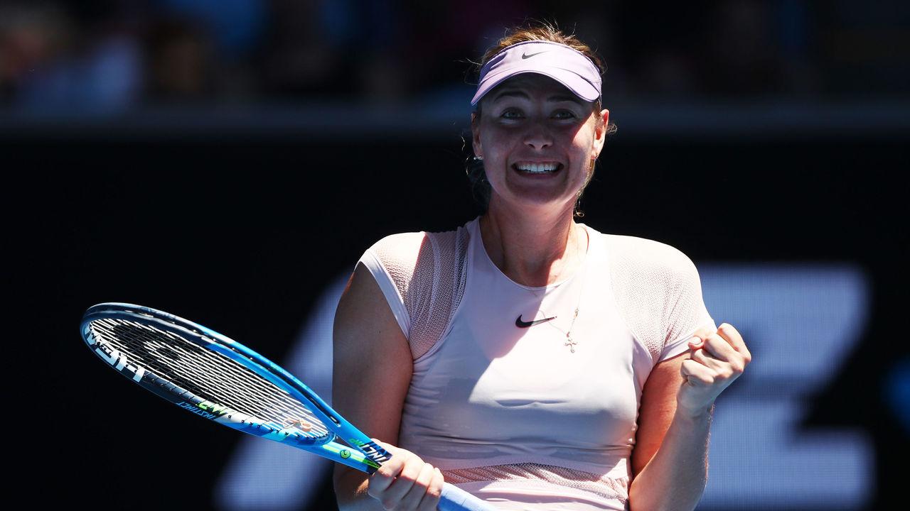 MELBOURNE, AUSTRALIA - JANUARY 16: Maria Sharapova of Russia celebrates winning her first round match against Tatjana Maria of Germany on day two of the 2018 Australian Open at Melbourne Park on January 16, 2018 in Melbourne, Australia.