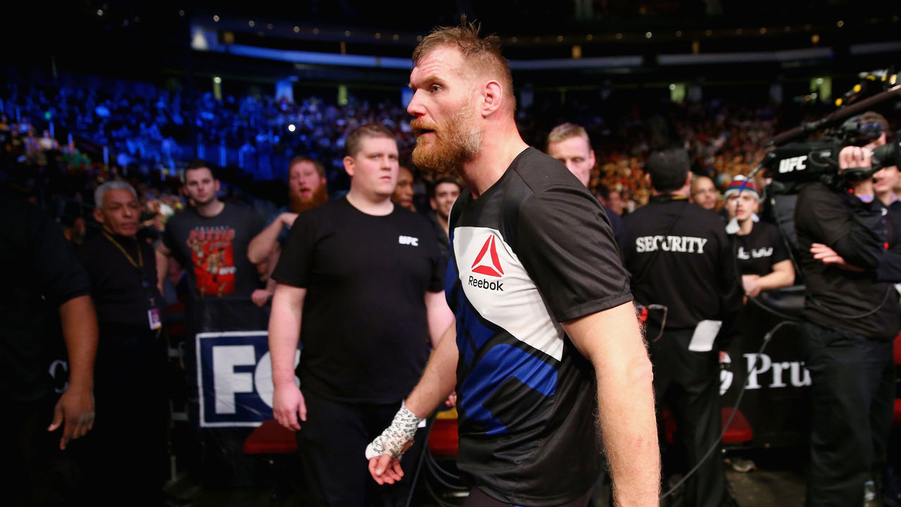NEWARK, NJ - JANUARY 30: Josh Barnett of the United States leaves the Octagon after losing by submission to Ben Rothwell of the United States (not pictured) in the second round of their heavyweight bout during the UFC Fight Night event at the Prudential Center on January 30, 2016 in Newark, New Jersey.
