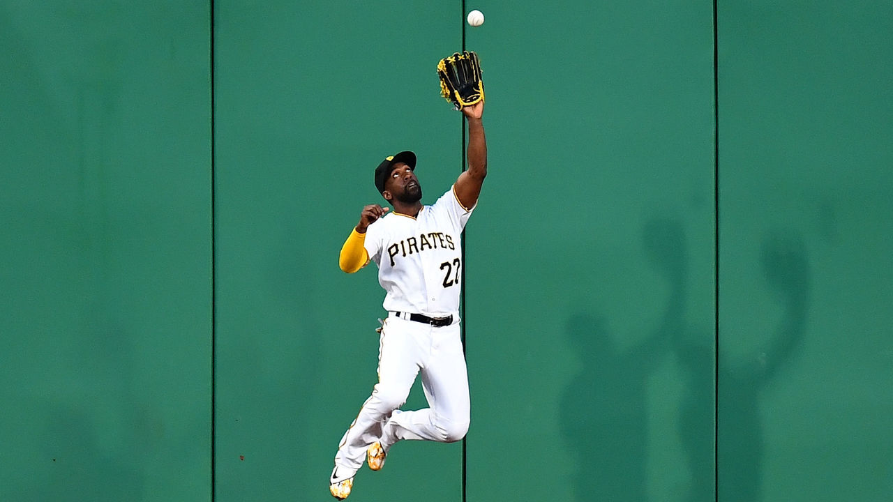 PITTSBURGH, PA - JUNE 27: Andrew McCutchen #22 of the Pittsburgh Pirates catches a ball hit by Wilson Ramos #40 of the Tampa Bay Rays (not pictured) during the sixth inning at PNC Park on June 27, 2017 in Pittsburgh, Pennsylvania.