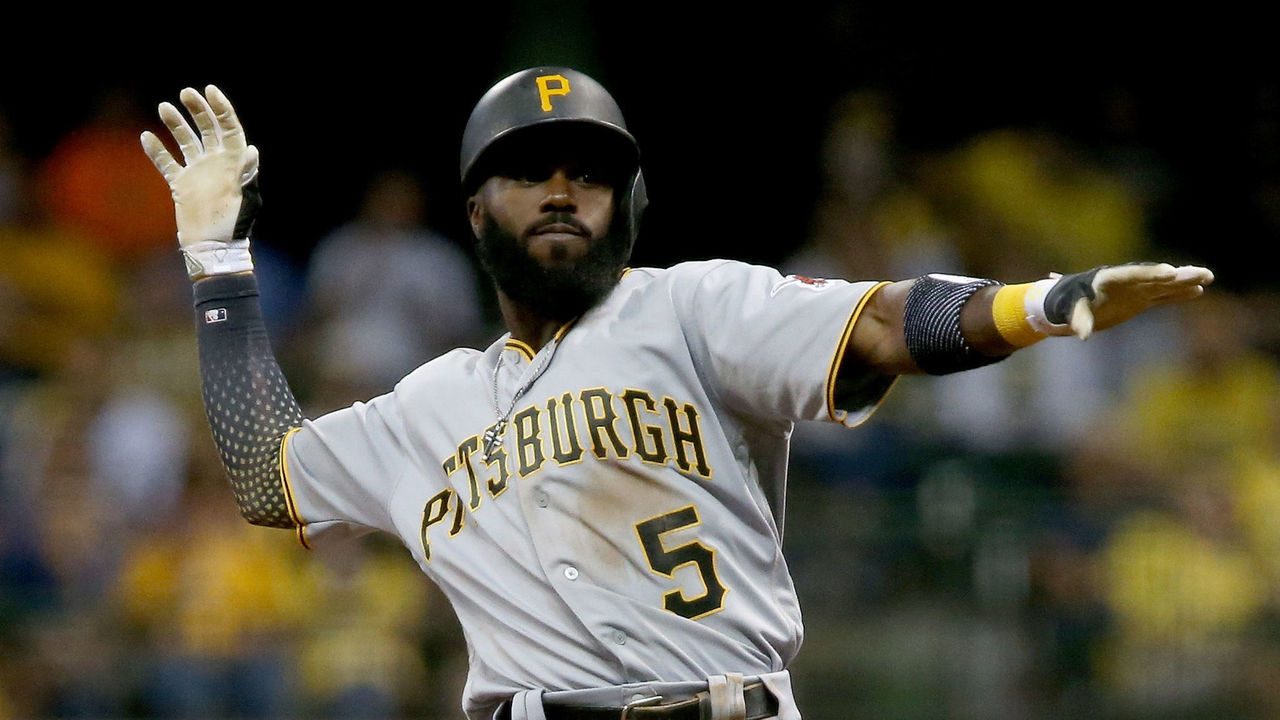 MILWAUKEE, WI - JUNE 19: Josh Harrison #5 of the Pittsburgh Pirates celebrates after hitting a double in the seventh inning against the Milwaukee Brewers at Miller Park on June 19, 2017 in Milwaukee, Wisconsin.
