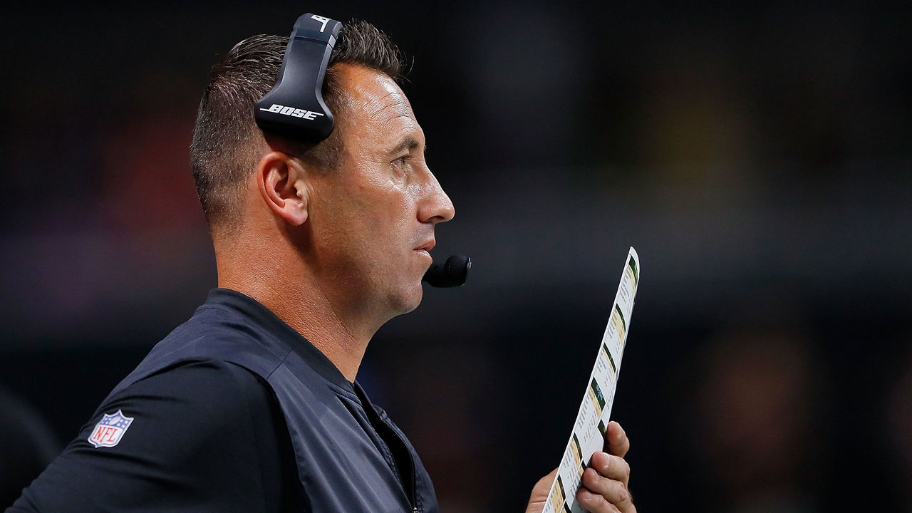 ATLANTA, GA - AUGUST 26: Offensive coordinator Steve Sarkisian of the Atlanta Falcons calls plays from the sidelines during the game against the Arizona Cardinals at Mercedes-Benz Stadium on August 26, 2017 in Atlanta, Georgia.