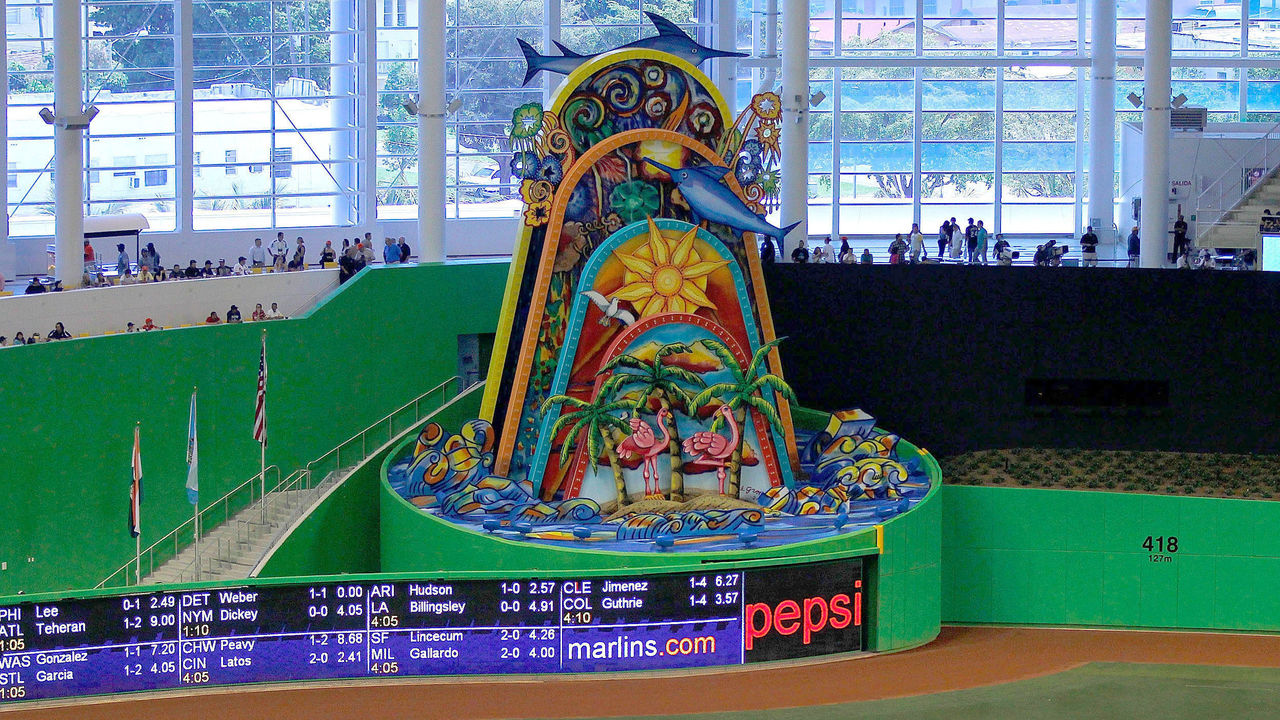 MIAMI, FL - APRIL 01: A general view of the new Miami Marlins Park during a preseason game against the New York Yankees during a game at Marlins Park on April 1, 2012 in Miami, Florida. A mechanical sculpture by Red Grooms will animate everytime a home run is hit yb a Marlin.