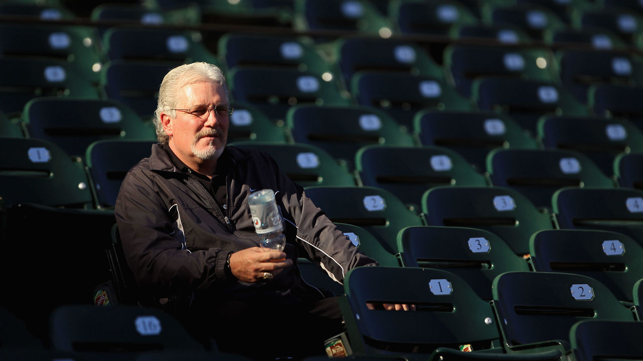 SAN FRANCISCO - OCTOBER 13: San Francisco Giants general manager Brian Sabean sits in the stands during a workout session in preparation for the National League Championship Series at AT&T Park on October 13, 2010 in San Francisco, California.