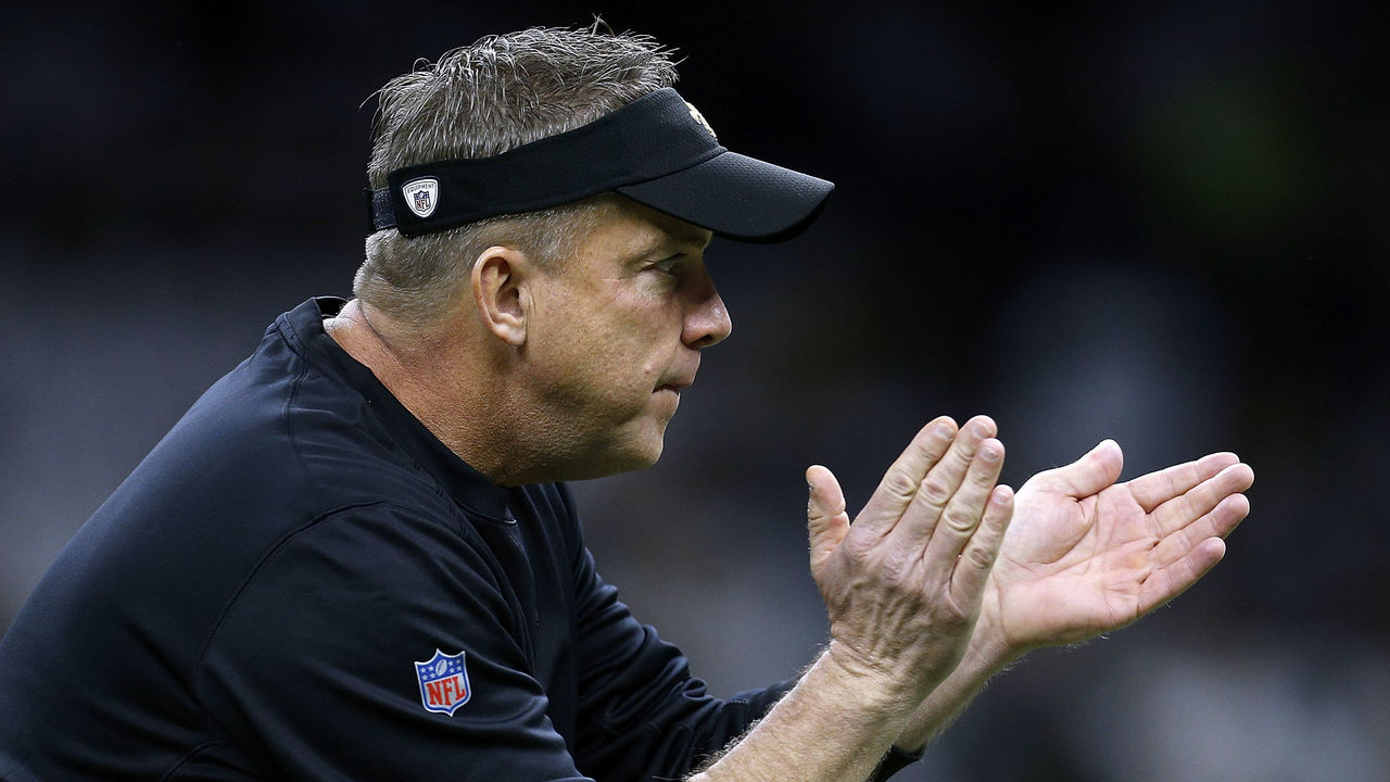NEW ORLEANS, LA - JANUARY 07: Head coach Sean Payton of the New Orleans Saints reacts before the NFC Wild Card playoff game against the Carolina Panthers at the Mercedes-Benz Superdome on January 7, 2018 in New Orleans, Louisiana.
