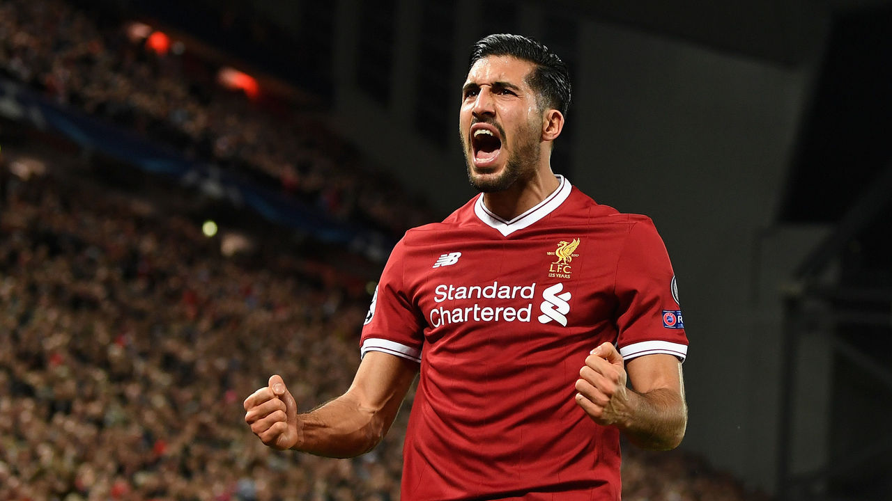LIVERPOOL, ENGLAND - NOVEMBER 01: Emre Can of Liverpool celebrates scoring his sides second goal during the UEFA Champions League group E match between Liverpool FC and NK Maribor at Anfield on November 1, 2017 in Liverpool, United Kingdom.